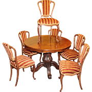 Set of 6 19th c. Walnut Striped Upholstered Dining Chairs