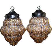 Pair of Vintage Amber Glass Metal Lattice Lanterns