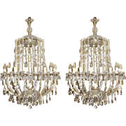 Impressive Pair of Large 19 Light Louis XV Style Crystal Chandeliers