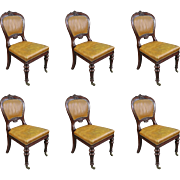 Set of 7 George IV Mahogany Studded Tan Leather Library Dining Chairs