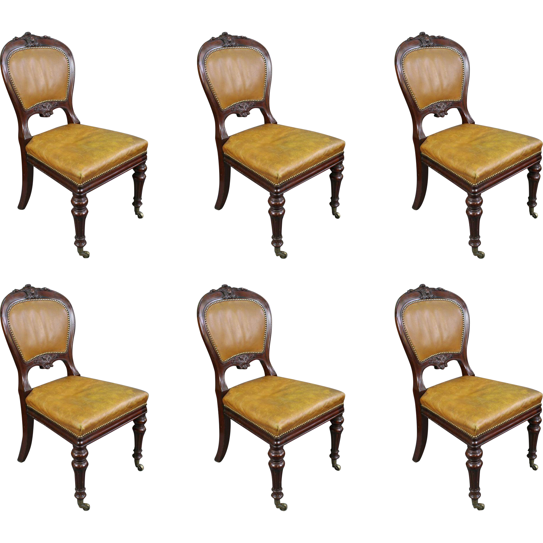 Set of 7 George IV Mahogany Studded Tan Leather Library Dining