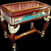 Empire Style Mahogany & Brass Ormolu Bijouterie Cabinet