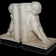 Pair of Art Deco Plaster Cherub Bookends