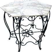 Wrought Iron Marble Topped Garden Table & Four Armchairs