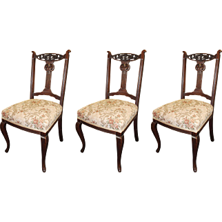 Set of 3 Antique Carved Mahogany Upholstered Occasional Chairs