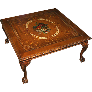 Square Hand Painted Floral Wood Ball & Claw Coffee Table