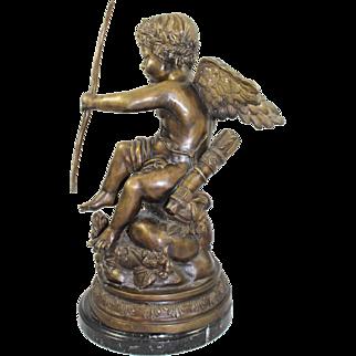 Antique Style Bronze Cherub on Marble Base