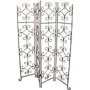 Quality Heavy Old Wrought Iron Four Fold Screen