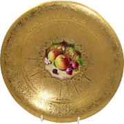 Royal Worcester Heavily Gilded Painted Fruit Comport by Nutt