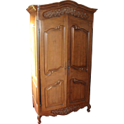 Quality Large Heavy Carved Wood Cabinet Cupboard Linen Press Unit