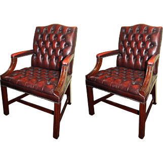 Pair of Mahogany Buttoned Red Leather Studded Library Chairs