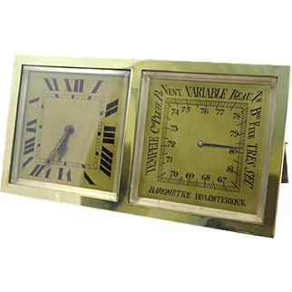 Antique French Brass Desk Clock Barometer by CH Depose