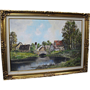 Large Oil Painting Landscape Signed Set in Gilt Frame