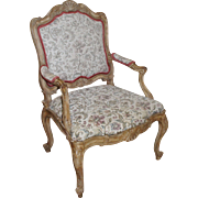 Carved French Style Fauteuil Upholstered Armchair