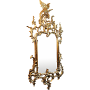 Carved Wood Gilt Chippendale Style Pier Glass Mirror