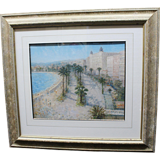 Fine Painting Cannes Riviera Landscape by Laszlo Ritter (Hungarian, 1937 - 2003)