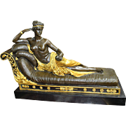 Regency Style Reclining Bronze Figure on Marble Base