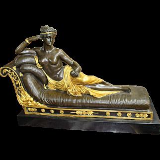 Regency Style Reclining Bronze Figure on Marble Base