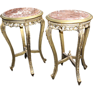 Pair of Louis XV Style Gilt Carved Wood Marble Topped Occasional Lamp Tables