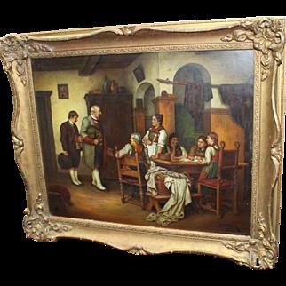 Fine G.B.Osterman Interior Scene Painting Oil on Board
