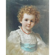 Leon Spinick Portrait of a Child Pastel 1897