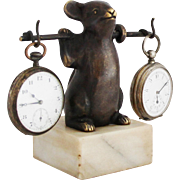 Vintage French Mouse / Rat Pocket Watch Holder Art Deco Pocket Watch Stand
