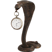 1930s Vintage French Cobra Snake Serpent Pocket Watch Holder Art Deco Pocket Watch Stand