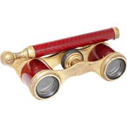 1900s French 'Carpentier' Petit Opera Glasses / Antique Red Enamel Binoculars Theater Glasses