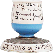 Vintage French Porcelain Advertising Match Holder 'Aux Lions de Faience'