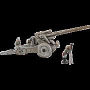 1930s Rare Vintage German Heavy Field Howitzer With Travelling Bogie for Lineol/Elastolin Soldiers / Schwere Feldhaubitze mit Sattel-protze