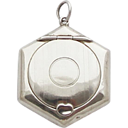 1920s Vintage Locket Powder Compact / Petit Sterling Chatelaine Pendant Medaillon