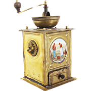Superb Antique French Brass Coffee Grinder Decorated with Lion Heads and a Picture by a French Painter Jean-François Millet