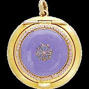 Vintage German Powder Compact Violet Pendant Pill Box Medaillon Locket Art Deco