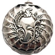 Vintage French Silver Powder Compact Pendant