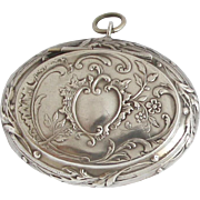 Antique French Oval Powder Compact Pendant Pill Box Medaillon Locket