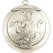 Vintage Silver French Locket Powder Compact Pendant Art Nouveau Style Pill Box Medaillon