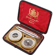 Antique Pocket Travel Set - Swiss Barometer (Altimeter) & French Compass + Thermometer