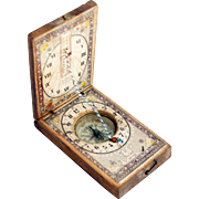 1860s Rare Papered Wood German 'Stockert' Sundial Compass