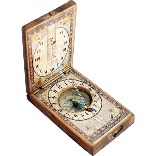 1860s Rare Papered Wood German 'Stockert' Sundial Compass