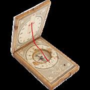 1850s Rare Papered Wood German 'Stockert' Sundial Compass