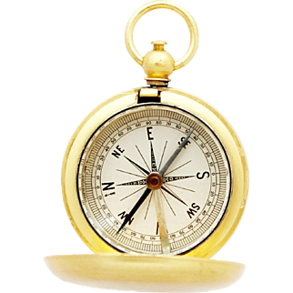 1920s Superb Gilded Pocket Compass / Vintage French Hunter Compass