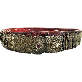 Antique 1900 Ottoman Silver Belt Islamic Rare Handmade Belt Buckle