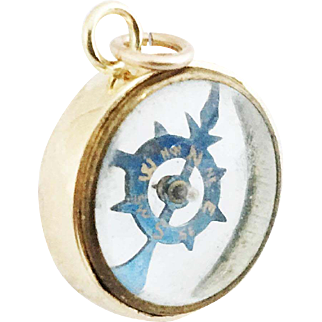 1890s Antique French Transparent 9ct Gold Compass Fob / Compass Charm