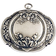 Antique French Oval Powder Compact Pendant Solid Silver Pill Box Medaillon Locket