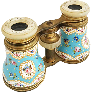 Antique French Hand-Painted Enamel Opera Glasses / 19th Century Opera Glasses W. L. Becker Opticien Spy Glasses Binoculars Theater Glasses