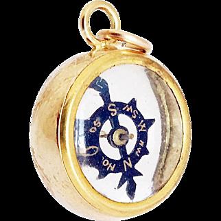 1890s Antique French Transparent 9ct Gold Compass Fob Rare Compass Charm
