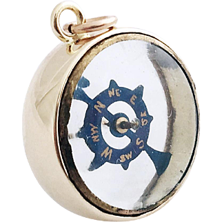 1890s Victorian French Transparent 9ct Gold Compass Fob Rare Compass Charm