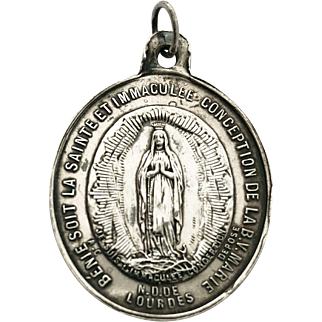 Vintage Mother Mary Medal French Religious Lourdes Pendant Blessed Virgin Catholic Lucky Charm