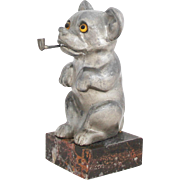 Vintage 1930s French Mouse with Pipe Pocket Watch Holder / Art Deco Figural Pocket Watch Stand