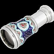 Antique French Opera Glass / Decorated Enamel Lorgnette Spyglass Telescope